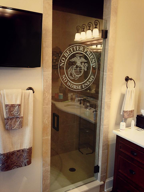 Etched Glass in Glass Shower Door