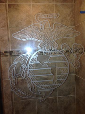 Etched USMC logo Frameless Shower Door