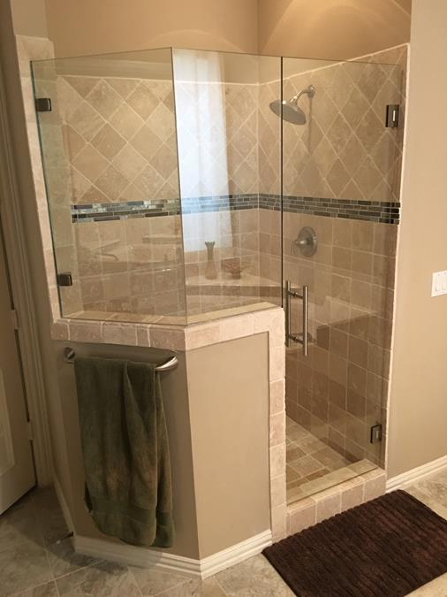 Frameless Neo angle shower enclosure ladder pull brushed nickel clear glass (Copy)