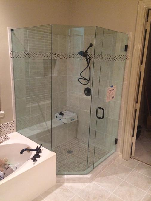 Frameless Seemless Shower Enclosure Neo angle mitered corners Frisco (Copy)