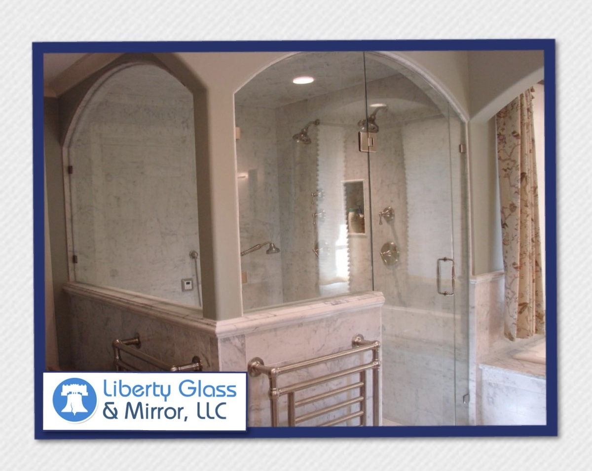 Frameless shower arched top glass to glass hinges