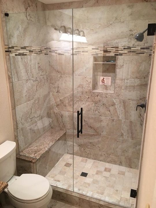 Frameless shower enclosure tub removed