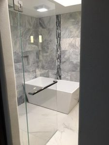 door and panel glass of shower and tub area