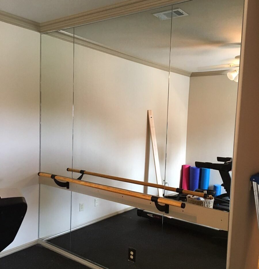mirrored wall in home gym