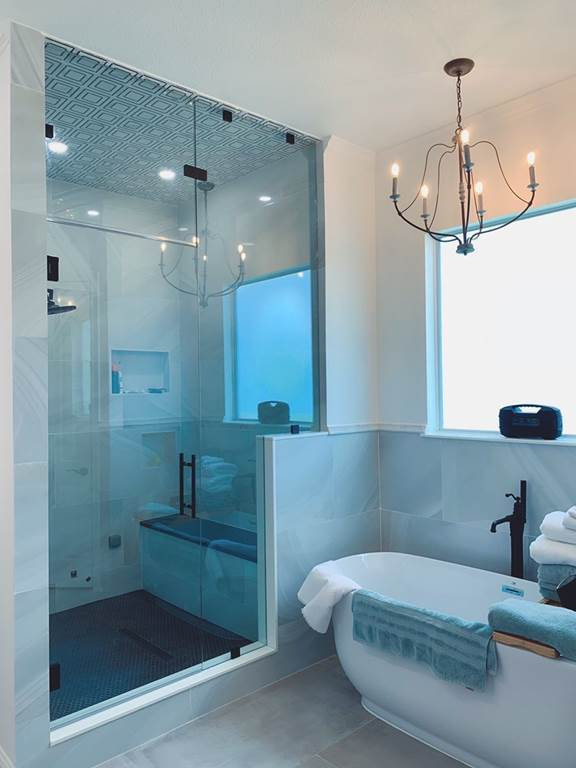 gorgeous bathroom remodel with frameless shower installation